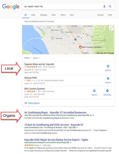Local vs organic search results